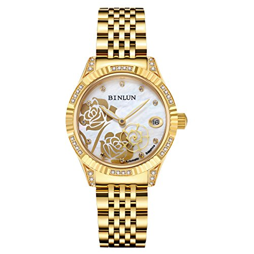 (BINLUN Ladies 18K Gold Automatic Mechanical Watch Diamante Waterproof Luxury Wrist Watches for Women )