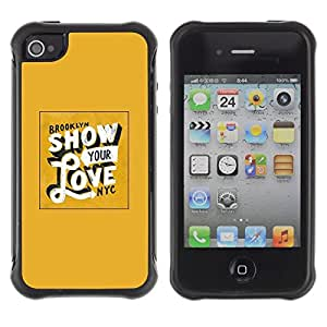 Suave TPU GEL Carcasa Funda Silicona Blando Estuche Caso de protección (para) Apple Iphone 4 / 4S / CECELL Phone case / / Show Your Love Yellow Gold New York /