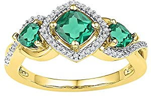 Size - 5.5 - Solid 10k Yellow Gold Cushion Round Green Simulated Emerald And White Diamond Engagement Ring OR Fashion Band Prong Set 3 Stone Shaped Halo Ring (1/10 cttw)