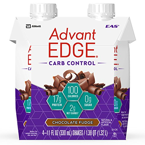 EAS AdvantEDGE Carb Control Protein Shake Chocolate Fudge Ready-to-Drink, 17 g of Protein 11 fl oz Bottle, 24 Count - Edge Protein