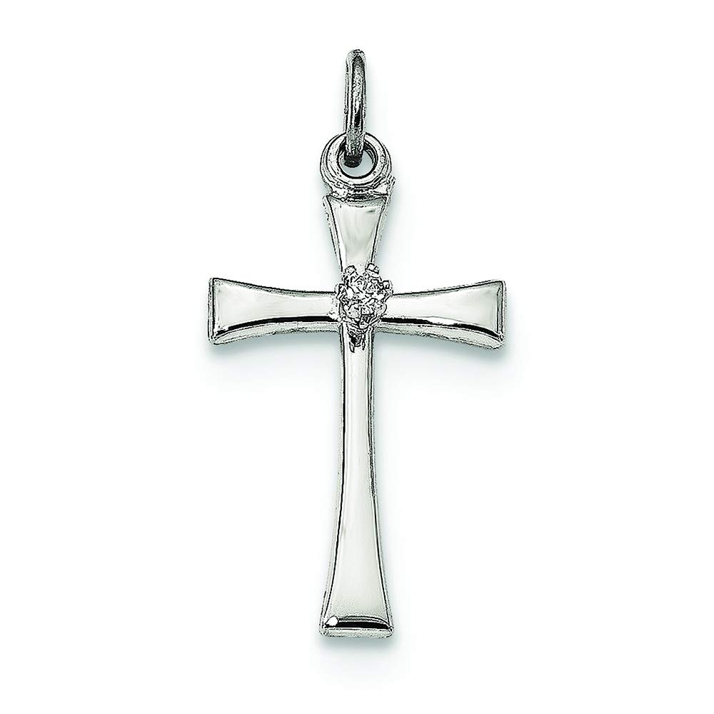 Sterling Silver Polished CZ Latin Cross Charm Pendant