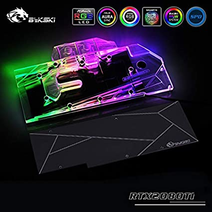 GPU Copper Water Cooling Block Compatible with NVIDIA GeForce RTX  2080Ti/2080 Founders/Reference Edition 5V 3PIN RGB Remote Control Back  Plate