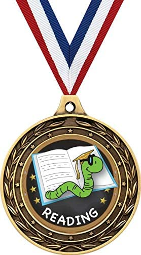 Reading Gold Duo Medal 3 Book Worm Reading Prizes Kids Reading Trophy Medal Awards Prime