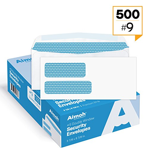 Custom Window Envelopes - #9 Double Window Security Business Mailing Envelopes for Invoices, Statements and Legal Documents - GUMMED Closure, Security Tinted - Size 3-7/8 x 8-7/8 - White - 24 LB - 500 Count (30129)