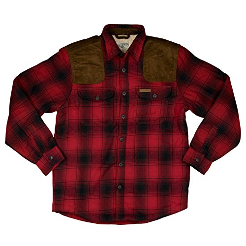 Field & Stream Mens Sherpa-Lined Flannel Shirt Jacket Small Red