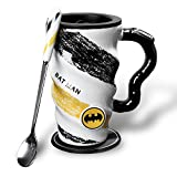 Cool Large Coffee Tea Mug, Marvel Avengers Superhero Badge Mug, with Lid Stainless Steel Spoon with Ceramic Handle,Saucer, Non-Slip Bottom, Wavy Body Design Skid-proof,18 oz(520 ml) (Batman)