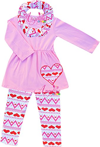 Boutique Clothing Spring Valentine Pink Heart Breaker 3pc Tunic Legging Scarf Set 2T