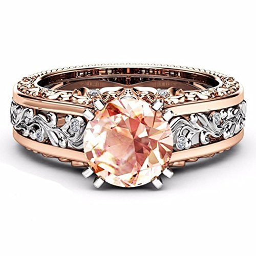 Price comparison product image WILLTOO Exquisite Women Separation Engagement Jewelry Simple Crysta Wedding Ring (Coffee, Size 5)
