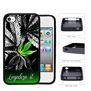 Weed Plant Legalize It Quote Black and White Background Hard Rubber TPU Phone Case Cover iPhone 4 4s