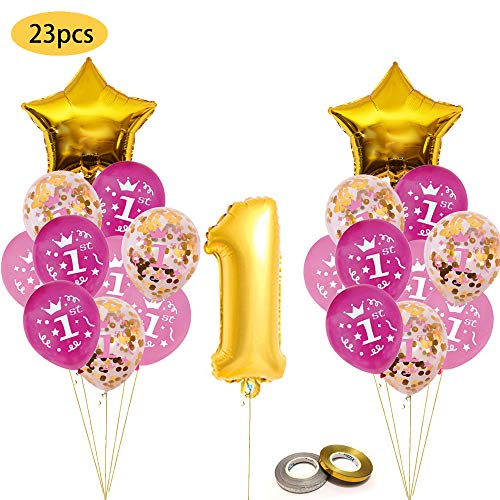 One First Birthday Decoration kit, Gold Confetti Balloon with [1st] Pattern,Pink and Blue Birthday Balloons Set Perfect for 1st Bday Party Supplies Girl or Boy with foil One Number 1 -