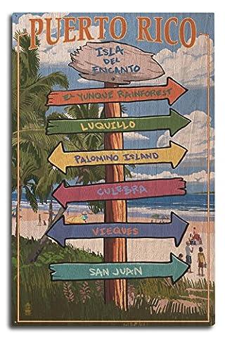 Isla del Encanto, Puerto Rico - Destinations Sign (10x15 Wood Wall Sign, Wall Decor Ready to Hang) - Puerto Rico Kitchen