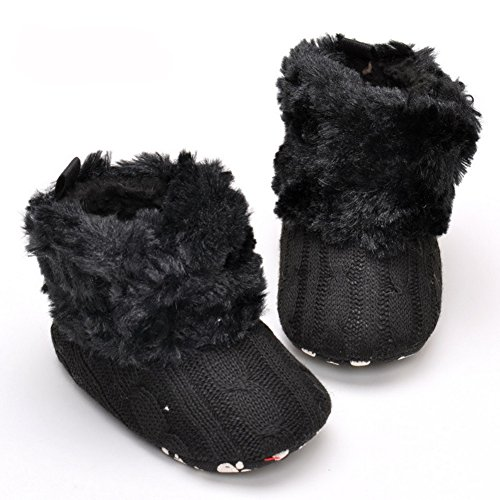 Cotton Knit Premium Soft Sole Anti-Slip Mid Calf Warm Winter Prewalker Toddler Boots (L: 12~18 months, Black) ()
