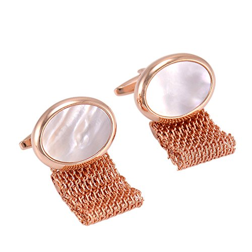 CHOP MALL Shell Cufflinks Studs 2Pcs High-grade Rose Gold Oval Chain Cufflinks for Man Business and Other Occasions -