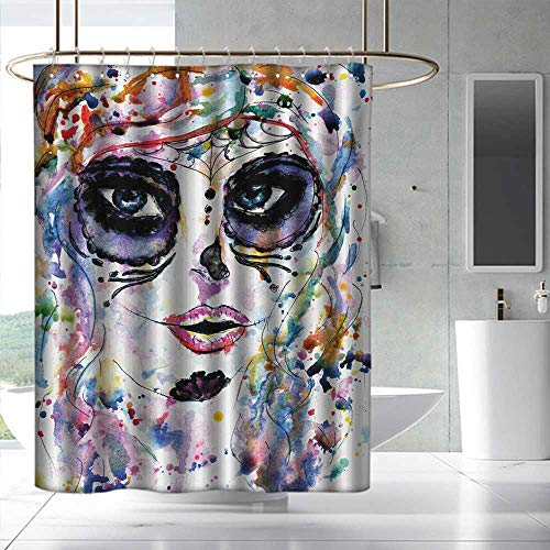 Sugar Skull Wide Shower Curtain Halloween Girl with Sugar Skull Makeup Watercolor Painting Style Creepy Look Fashionable Pattern W108 x L72 Multicolor]()