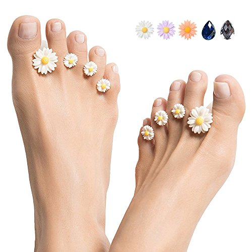 Silicone Toe Separators 8-Piece Spacers (Purple Daisy) by ZOOPOLR