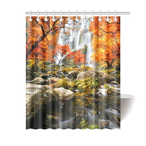 Autumn Waterfall - InterestPrint Autumn Landscape Beautiful Waterfall in Forest Waterproof Shower Curtain Decor, Fabric Bathroom Set with Hooks, 60(Wide) x 72(Height) Inches