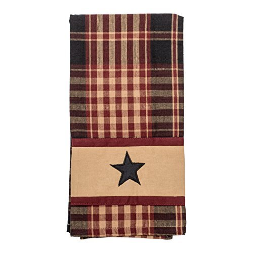 Village Barn Star on Americana Plaid 20 x 28 Inch Applique All Cotton Hand Tea Towel