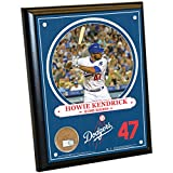 "MLB Los Angeles Dodgers Howie Kendrick Plaque with Game Used Dirt from Dodger Stadium, 8"" x 10"", Navy"