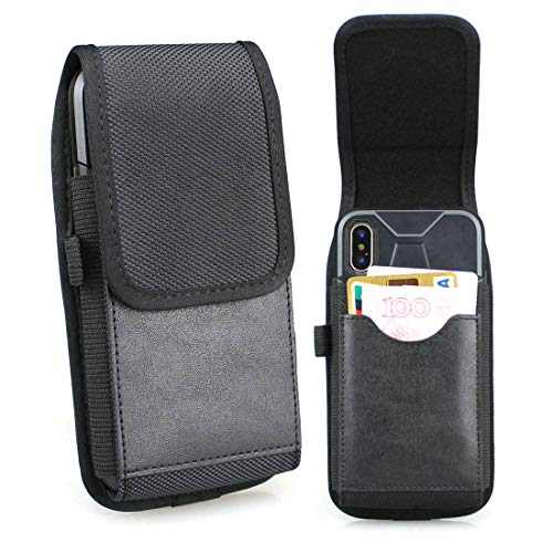 aubaddy Vertical Nylon Belt Holster for iPhone X/Xs, Samsung Galaxy S8/S9/S10, Belt Case with ID Card Slot, Fit Phone with a Thin Case (Black)
