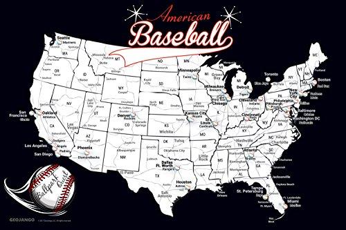 GeoJango Baseball Stadium Map Poster (36Wx24H inches)