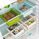 Refrigerator Storage Box Home Kitchen Fridge Sliding Drawer Shelf Storage Fruit Food Container Rack Space Saver Kitchen Tools (White)