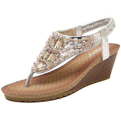Zicac Women's Rhinestone Wedge Sandals Thong Platform Beaded Slingback Bohemia Summer Shoes (7, Silver)