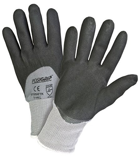 Price comparison product image West Chester 715SNFTK / XL Black Foam 3 4 Dip Nitrile Glove on Gray Nylon Shell,  XL (Pack of 12)