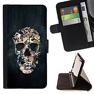 BullDog Case - FOR/LG G2 D800 / - / SMOKE ABSTRACT BLACK SKULL FOG ART /- Monedero de cuero de la PU Llevar cubierta de la caja con el ID Credit Card Slots Flip funda de cuer