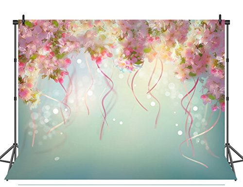 (Sensfun 7x5ft Cherry Blossom Floral Photography Backdrops Spot Ribbons Flowers Bridal Shower Video Photo Background for Romatic Wedding Studio)