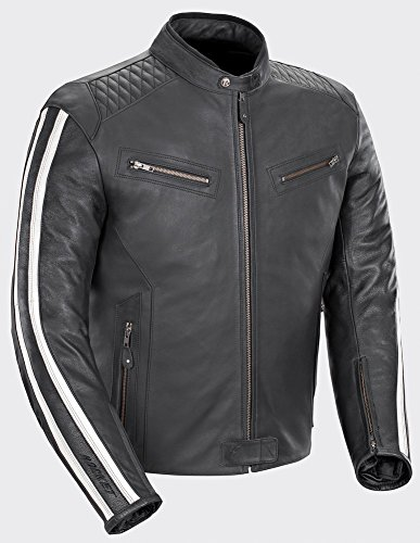 (Joe Rocket 'Vintage' Rocket - Retro 60s 70s Leather Racing Jacket - Black/White - Medium )