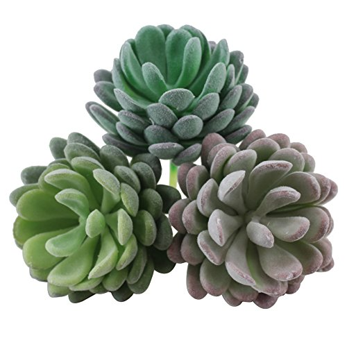 """Greatflower Pack of 6 Mixed Colors Flocking Coating Artificial Succulents Fake Plant DIY Materials,2.7"""""""