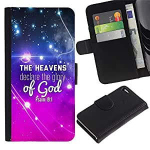 Billetera de Cuero Caso Titular de la tarjeta Carcasa Funda para Apple Iphone 4 / 4S / BIBLE The Heavens Declare The Glory Of God - Psalm 19:1 / STRONG
