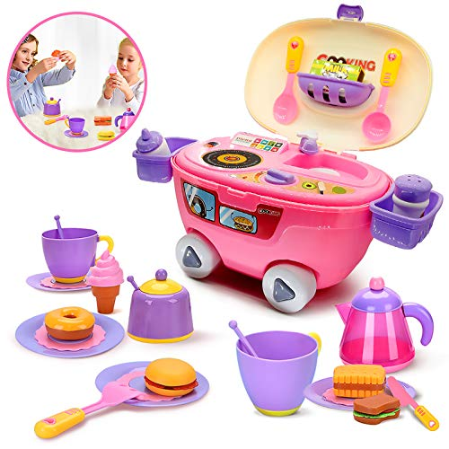 pozzolanas Kitchen Toys Pretend Play Set for Toddlers,Educational Food Playset Role Play Kits as Holiday Birthday Gift for Girls Boys(34 Pieces)