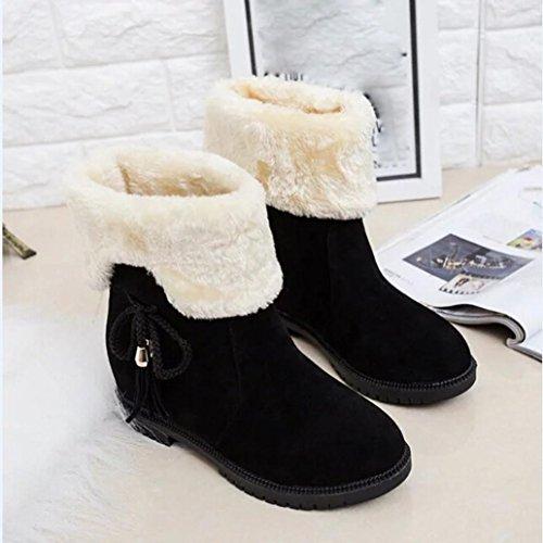 Femme Mode Neige Cheville Neige Chaussures Hunpta D'hiver Bottes Talons De Noir zwnYRZ
