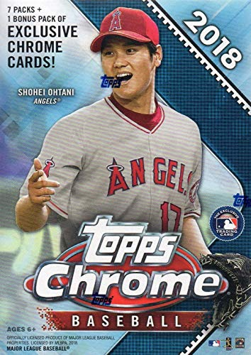 (2018 Topps Chrome MLB Baseball Series Unopened Blaster Box with 4 Blaster EXCLUSIVE GREEN Sepia Refractor Cards and a Chance for Rookie Cards of Shohei Otani, Ronald Acuna, Gleyber Torres and more)