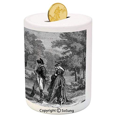 Vintage Ceramic Piggy Bank,Historical French Revolution Sketch with Napoleon and Woman in Garden Artwork 3D Printed Ceramic Coin Bank Money Box for Kids & Adults,Dark Grey - Coin French Vintage