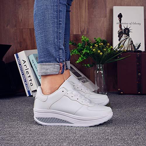 Shake Zapatillas con Qiusa Negro Zapatillas Confort Blanco Casaul Cordones Color Color tamaño Mujer 39 Mezclado EU Hz1wqd1