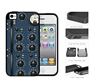 Audio Amplifier Panel Blue 2-Piece Dual Layer High Impact Rubber Silicone Cell Phone Case Apple iPhone 4 4s