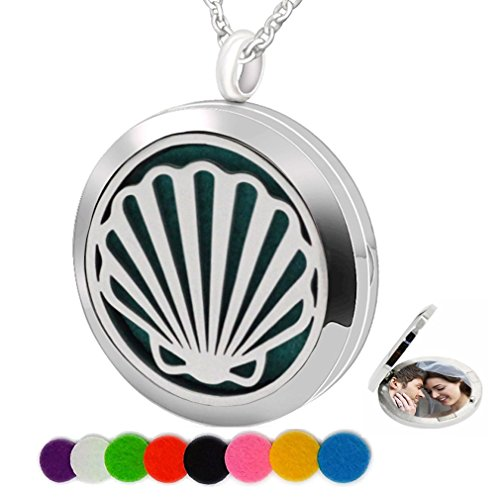 - Essential Oil Necklace Aromatherapy Diffuser Pendant Pad Shell Round Kids Boy Photo Locket for Women