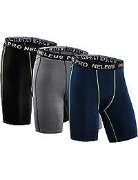 Neleus Men's 3 Pack Compression Athletic Short