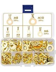 cersaty®150 stuks ringkabelschoen ring kabelschoen set ringterminals van koper, niet-geïsoleerde terminal connector assortiment M3 M4 M5 M6 M8 M10