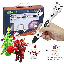 3D Pen - Dikale 05A【Kitten Shaped Design】3D Drawing Printing Printer Pen Bonus 250 Stencils eBooks for Kids Adults Arts Crafts Model DIY, Non-Clogging