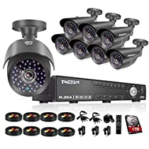 TMEZON 16CH 1080N 5 in 1 AHD Video DVR Security System 8 AHD 2.0MP Super Night Vision Indoor/Outdoor Security Camera Transmit Range P2P/QR Code Scan Easy Setup with 1TB HDD