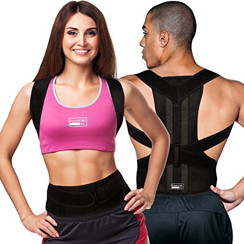 Posture Corrector for Women & Men - Back Brace & Shoulder Support Trainer for Pain Relief & Improve Bad Slouching Problems - Fully Adjustable Clavicle Medical Belt Straightener (Medium)
