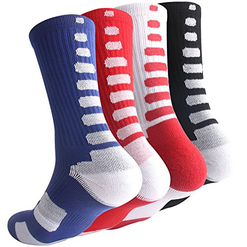 Boys Sock Basketball Soccer Hiking Ski Athletic Outdoor Sports Thick Calf High Crew Socks 4 Pack C
