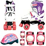 Sk8 Zone Girls Pink White Quad Skates Padded Kids Roller Boots Safety Pads Helmet Childrens Skate Set (Small: 9-12 (27-30 EU))