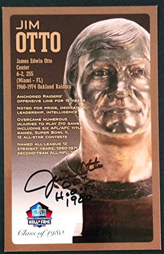(PRO FOOTBALL HALL OF FAME Jim Otto Signed Bronze Bust Set Autographed Card with COA (Limited Edition #95 of 150))