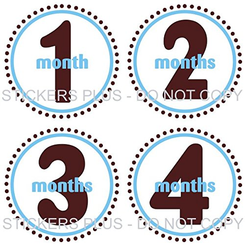 Baby Boy Month Stickers Monthly Baby Milestone Stickers Bodysuit Age Stickers Circle of Dots Blue Brown Baby Age Stickers Circle Suits