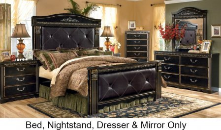Ashley Coal Creek Queen Bedroom Set with Upholstered Mansion Bed Dresser Mirror and Nightstand in Dark