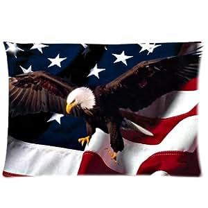 Águila calva de la bandera americana Custom Rectángulo con cremallera almohadas y fundas de almohada de 20x 30(un lado)